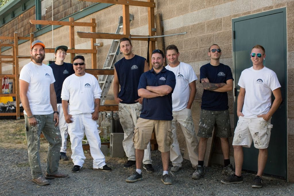 The whole Coast to Coast Painting crew on the job in the summer of 2016.